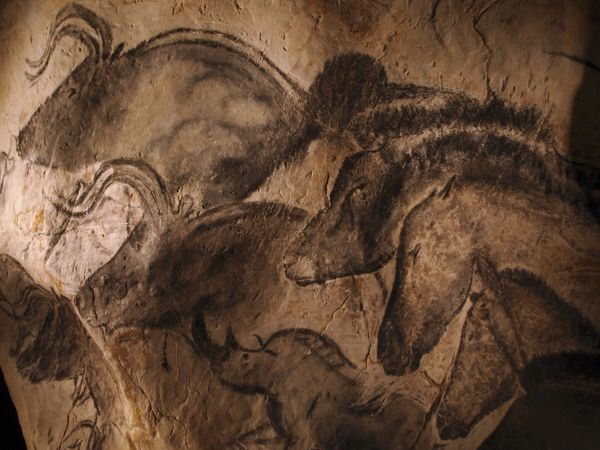Stone-age cave paintings. Artwork depicting various animals painted on the wall of a cave. These paintings are found in the Chauvet Cave, France, the site of the earliest known cave paintings (as of 2011), which have been dated to between 32